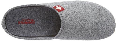 Living Kitzbühel Pantoffel Schweizer Kreuz Mit Fußbett, Chaussons Homme Gris (610 Grau)