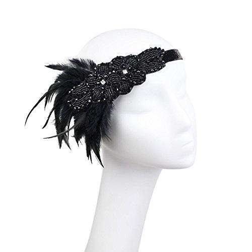 Sleipmon Haarreif im Stil der 20er-Jahre, Vintage-Stil, mit Pailletten besetzt, Art Deco, Frau, inspiriert von Great Gatsby, Kristall, mit Feder, Schwarz