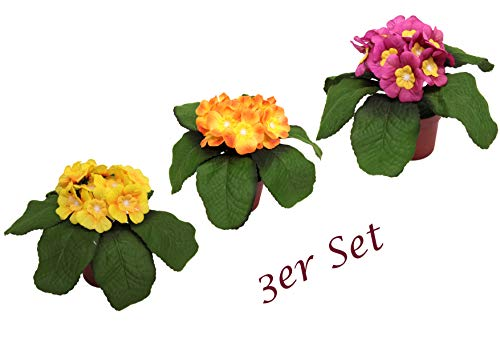 Flair Flower Primel im Topf, 15 cm, 3er Set, Frühjahrsdeko, Frühlingsdeko, Osterdeko, Kunstblumen, Künstliche Blumen
