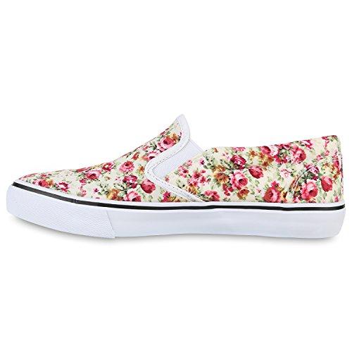 Damen Blumen Sneakers Slip-ons Stoffschuhe Sportliche Slipper Creme Muster