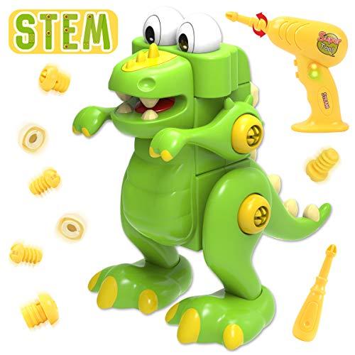 GILOBABY Dinosaurier Montage Spielzeug , Kinder Lehrreich DIY Gebäude Spielzeug,2 Bohrer Tool Spielzeug, STEM Spielzeug Geschenke , Gut für Junge & Mädchen -