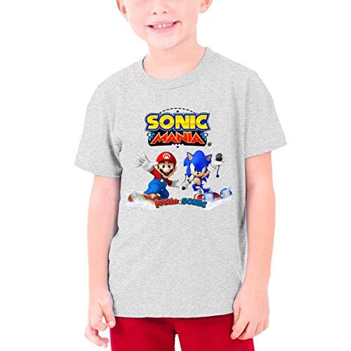 HGdggvd Mario und Sonic Cotton Kurzarm-T-Shirt mit rundem Halsausschnitt für Jungen, Mädchen, Kinder