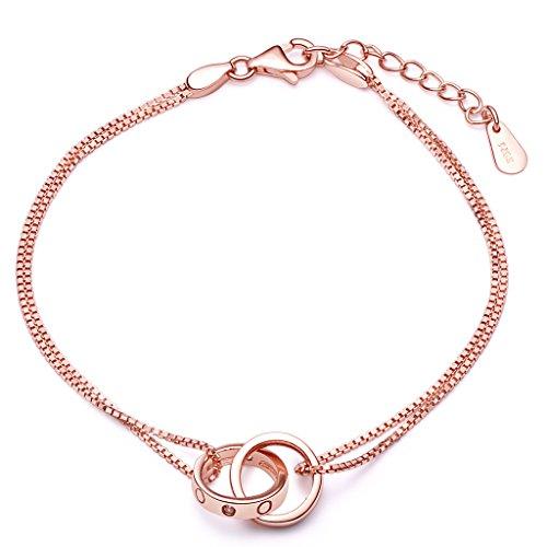 Unendlich U Damen Armband 925 Sterling Silber Zirkonia Ineinander Verschlungene Ringe Doppelringe Armkette Verstellbar Charm Armkettchen Armreif, Rosegold
