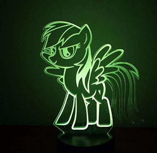 Luz de noche en 3D, Lámpara de escritorio LED for dormir, Interfaz de alimentación USB, Gradiente de 7 colores, Estilo de pony, Lámpara de sobremesa casera Lámpara de mesa de decoración, Pequeño regal