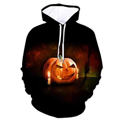 Realde Herren Unisex Kapuzenpullover Horror 3D Druck Pullover mit Kapuze Halloween Gedruckt Sweatshirt Mantel Outwear Männer Kapuzenpulli Langarmshirts Oberteile