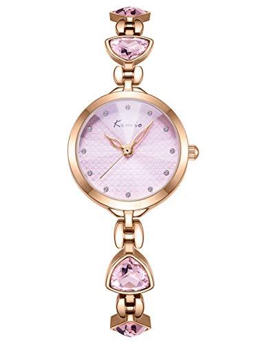 Alienwork Montre Femme Fille Bracelet métal Acier Inoxydable Or Rose Analogique Quartz Pink Imperméable Strass élégant