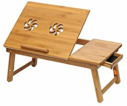 best laptop table made with bamboo wood very neatly design adjustable as for your use. Foldable wooden Laptop table Eco-friendly Product very useful for students and employees. This table comes with small Height adjustable and side Drawer features wh...