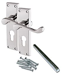 Euro Profile Slot Handles [by XFORT] Victorian Scroll Euro Lock Handles, Euro Cylinder Lock Door Handle Set for Internal Timber Doors Where Lock & Key Control Access is Required.