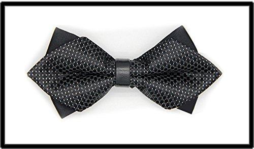 IXI.XIX Bow tie schwarz grün dot Silber Streifen männer formelle Kleidung Hochzeit Englisch Koreanische Version doppel Hochzeit bräutigam männer und Frauen Leder Krawatten, A (Bow Tie Und Silber Schwarz)