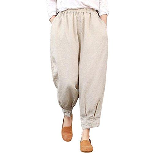 UFACE Women\'s lose elastisch mit Fester Baumwollhose Knöchellange Harem Capris Lose elastische Hose mit hoher Taille M/(42), Beige