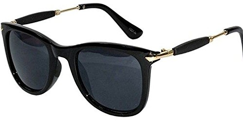 Sheomy Square Unisex Sunglasses (Black)