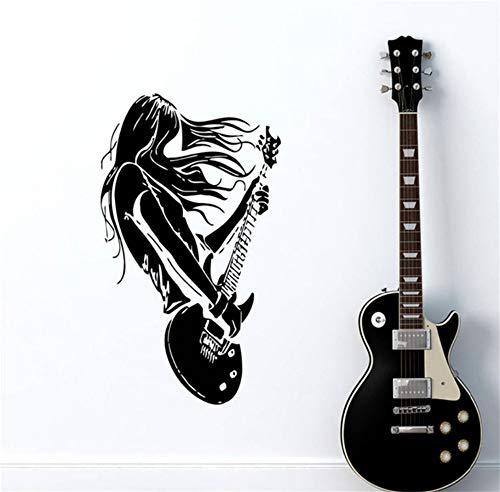 Zxfcczxf Rockstar Gitarre Musik Wandtattoos Wohnzimmer Dekoration Vinyl Kunst Aufkleber Innen Home Decor Selbstklebende Aufkleber 56 * 89 Cm