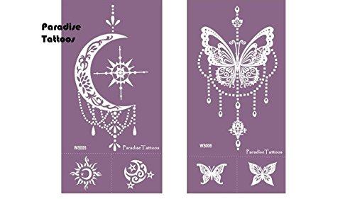 Farfalla e luna mesh tatuaggio modello riutilizzabile 2 fogli n. 5 & 6