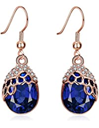 083c1fa20724 CHENGYUXUAN Retro Lan Baoshi Oro Rosa Aretes Pendientes Mujeres Moda  Diamante Aleación Orejeras Pera