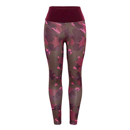 Pantaloni donna yoga elastica vita alta hight solido giuntura traspirante in esecuzione pantaloni sportivi pantaloni casual fitness sporttrouser (m, rosso)