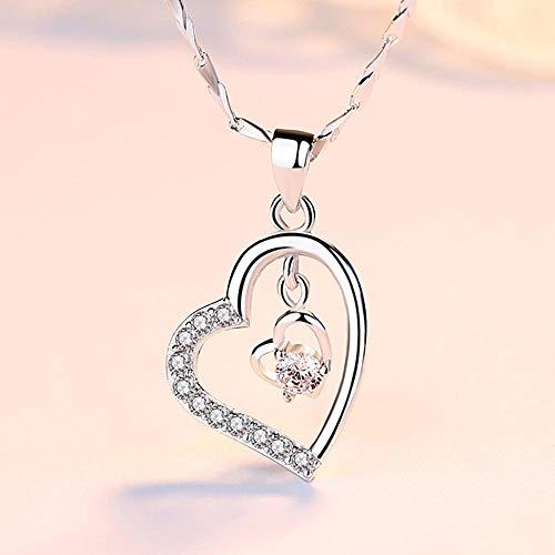 YANRR Damen Silber Halskette 999 Sterling Silber Schlüsselbein Halskette Mädchen Herz Anhänger