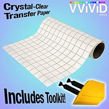 Transparent Hochglanz Vinyl Transfer Papier Grid Rückseite 3mil Selbstklebende Tabelle 30,5cm Rolle 12