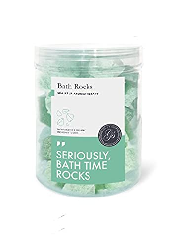 Bath Bomb Rocks (250g Sea Kelp) - Best Gift Idea - Highest Quality Ingredients & Shea Butter for Moisturizing Dry Skin - Ultra Essential Oil Handmade Spa Fizzies - Top Relaxation