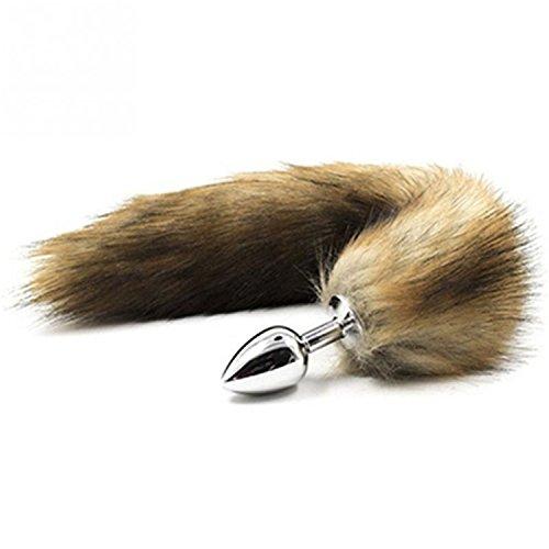 Fox Tail Analplug für Erwachsene, Edelstahl, Analgenuss mit Perlen, Anal-Plug, Stimulator, Sexprodukte, Flirt Spielzeug für Frauen Onesize gelb -
