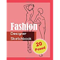 Fashion Designer Sketchbook - Red: 20 Figure sketch different posed template will easily create your fashion styles.
