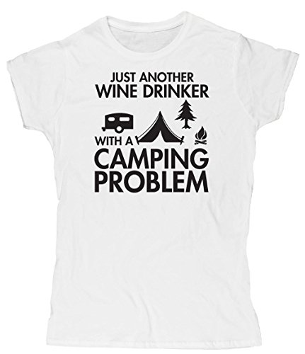 Hippowarehouse Just Another Wine Drinker with a Camping Problem Womens Fitted Short Sleeve t-Shirt (Specific Size Guide in Description)