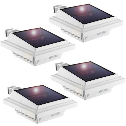 KEENZO LED Dachrinnenlampe, Solar Dachrinnenleuchte, 25 LEDs, 2 W, PIR-Sensor, Weiße,Kaltweißes Licht,4er-Set