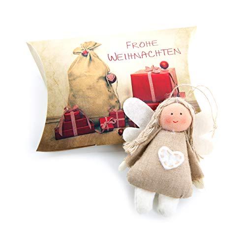 3 Stück fertig verpackte Mini Weihnachtsgeschenke Engel aus Stoff mit Herz natur beige rot zum Aufhängen Engel-Anhänger als Weihnachtsanhänger in der Schachtel - Stoff Mini Anhänger