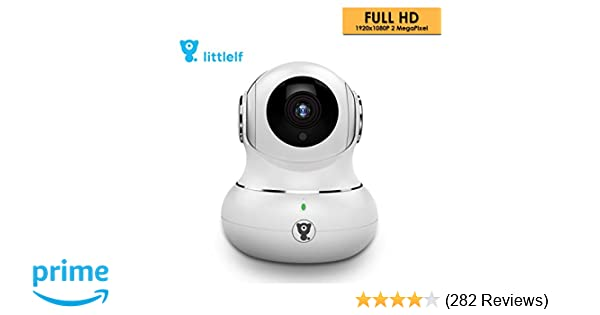 D3D LittleLF 1080P WiFi Home Security Camera 360 PTZ with Emergency Call  Button (White)