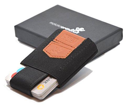 Premium Slim Wallet mit Zugband & Münzfach - Das dehnbare Kartenetui & Mini Portemonnaie aus Textil - Karten, Scheine & Münzen - Kleine Geldbörse, Mini Kreditkarten Etuis, Flaches Portemonnaie (black) - Basic Wallet