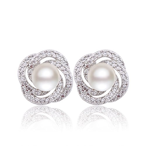 GULICX Elegant Silber-Ton Elfenbein Farbe 8mm künstliche Perle Ohrring CZ Braut Ohrstecker