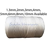 Swindon Watersports Nylon Braided cord rope twine paracord in WHITE - sold in 5m Lengths 1.3mm 2mm 3mm 4mm 5mm 6mm 8mm & 10mm (2mm)