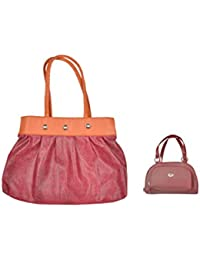 JHD Maroon Gold Shoulder Bag With Red Hand Bag Set Of 2 Pcs Combo