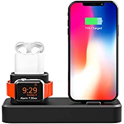LRWEY 3 en 1 Support Universel Phone Dock de Station d'accueil pour iPhone pour Apple Watch pour Airpods Station de Charge Mode Nightstand Noir