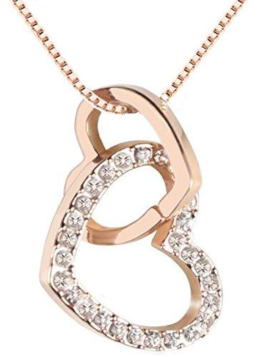 QUADIVA C! Damen Halskette Herzkette Kette mit Anhänger Herz (Farbe: rosegold) verziert mit funkelnden Kristallen von Swarovski®