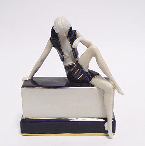 LouisXV Porzellan Skulptur Figur Jugendstil Antik Stil Massivholz. Replizierte Antiquitäten Buche...