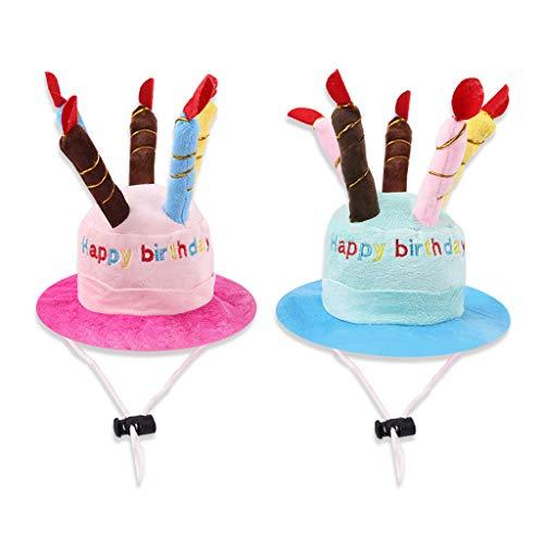 Koobysix Cat Supplies 2 Stück kleine Katzen und Hunde Haustier Geburtstag Hut Kuchen und Kerzen Design für Hunde und Katzen