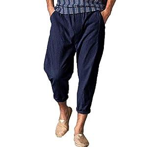 Vovotrade Uomo Leggero Traspirante Tinta Unita Estivo Lungo Pantaloni Harem Straight Fit Cargo Pant Pantaloni Casual Uomo