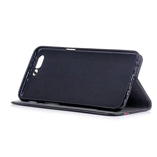 EKINHUI Case Cover Mischfarben Premium Synthetik PU Ledertasche mit Kartenfächern und Kickstand für OnePlus 5 ( Color : Black ) Black