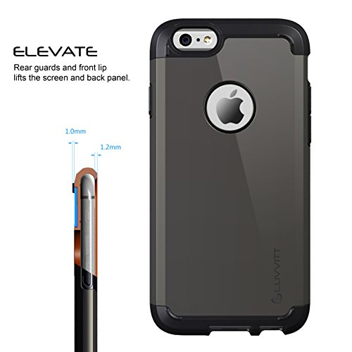 iPhone 6s Case, LUVVITT® ULTRA ARMOR Case for Apple iPhone 6s (2015) / iPhone 6 (2014) Dual Layer Shock Absorbing Tough Cover with Bumper Best iPhone 6/6S Case for 4.7 inch Screen - Black / Rose Gold Gunmetal