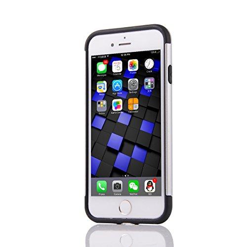 2 in 1 Hülle für iPhone 7, Dual Layer Armor Case Hart PC Weiche Silikon TPU Handy Schutzhülle Shockproof Robuste Hülle Full Protection Tropfenschutz Stoßdämpfung Cover für Apple iPhone 7 4,7 Zoll - Si Silber
