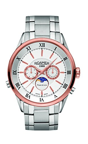 Roamer Superior Moonphase Men's Quartz Watch with White Dial Chronograph Display and Silver Stainless Steel Bracelet