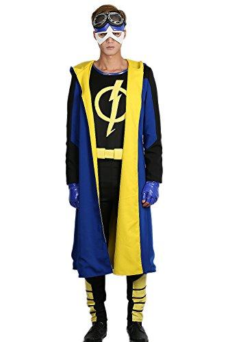 Herren Cosplay Kostüm Deluxe Superhero Outfit Erwachsene Mantel Shirt Gürtel für Halloween Verrückte Kleid Merchandise (Halloween-kostüme Zum Verkauf)