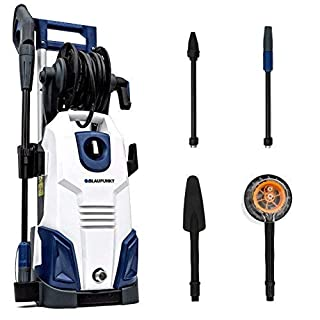 Blaupunkt Induction Pressure Washer PW7000-165 bar 2100W High Power AC Electric Aluminium Pump – Long 8m Hose - with Hi/Lo Pressure Nozzle, Turbo Nozzle and Car Cleaning Accessories Kit