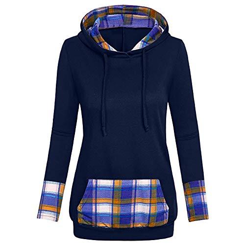 Honestyi Damen Pullover, Sweatshirt Damen Frauen Kapuzenpullover mit Hohem Kragen Feste Sweatshirt Pullover Tops Slim Fit PulloverKleid (EU-38/CN-L, Marine-7H)