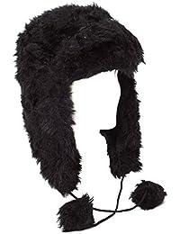 Bonnet de trappeur noir en fausse fourrure (Noir, 60 cm)