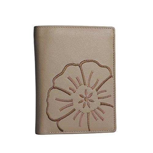 Damen Leder Geldbörse von BRANCO - sehr feines Leder Portemonnaie , Geldbeutel , Damenbörse , Börse mit aufgesticktem Blumen Motiv Beige - präsentiert von ZMOKA®