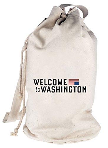 HOC - Welcome To Washington, bedruckter Seesack Umhängetasche Schultertasche Beutel Bag Natur