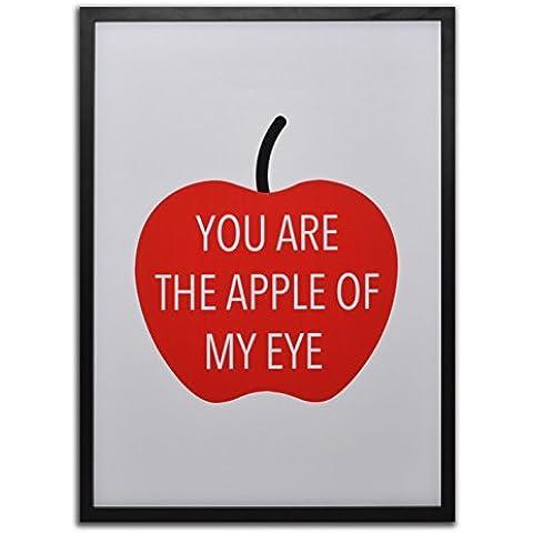 GAD M3231 - Cuadro impreso con imagen de manzana roja y mensaje You are the apple of my eye, fondo de color blanco