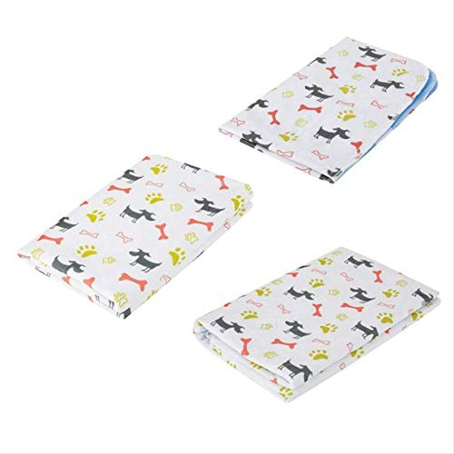 TTQIAOHUA Pet Pad Printing Urinal Pad Non-Slip Waterproof Reusable Cat Dog Diaper Small Animal Training Travel 80X90Cm White Bottom -