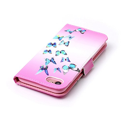 iPhone 7 Hülle,SainCat iPhone 7 Ledertasche Handyhülle Brieftasche im BookStyle Erleichterung Pfaublume Muster PU Leder Hülle Wallet Case Folio Schutzhülle Lederhülle Ledercase Scratch Bumper Handytas Blue Butterfly